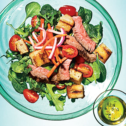 Grilled Steak Panzanella with Pickled Vegetables Recipe