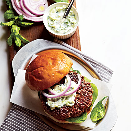 Lamb Burgers with Cilantro Raita Recipe | MyRecipes