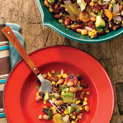 Pinto, Black, and Red Bean Salad with Grilled Corn and Avocado Recipe ...
