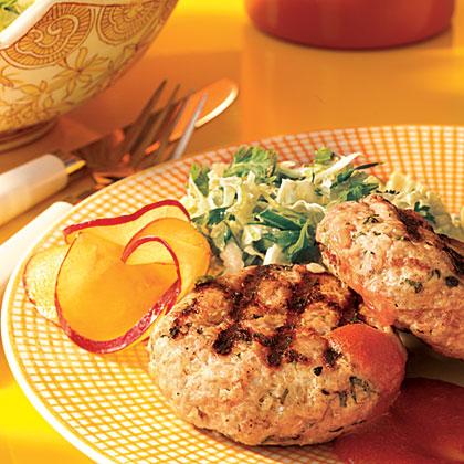 Pork Patties with Plum Sauce and Napa Cabbage Slaw