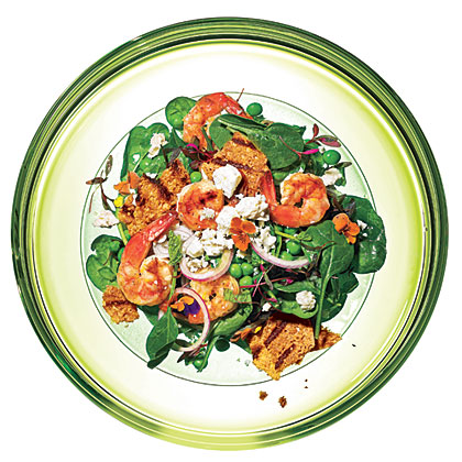 Spinach-Pea Salad with Grilled ShrimpRecipe