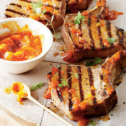 Brown Sugar Pork Chops with Peach Barbecue Sauce Recipe | MyRecipes