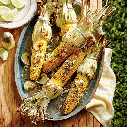 sl-Grilled Corn with Herbed Cotija Cheese