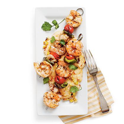 Grilled Shrimp and Smoky Grilled-Corn GritsRecipe