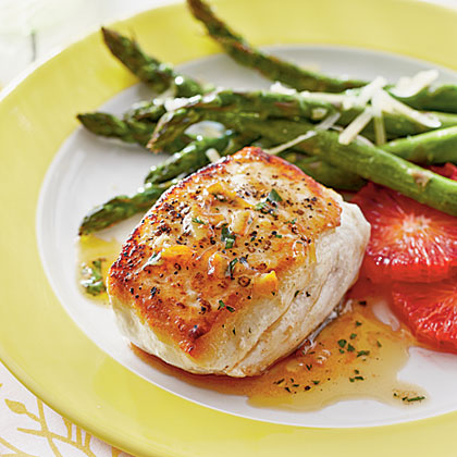 Halibut with Smoky Orange Vinaigrette Recipe | MyRecipes