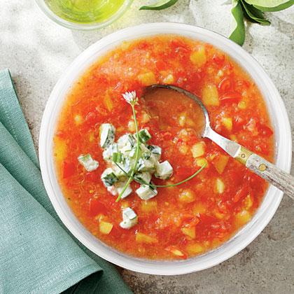 Peach-and-Tomato Gazpacho with Cucumber Yogurt Recipe