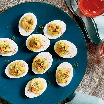 Shrimp Remoulade Deviled Eggs