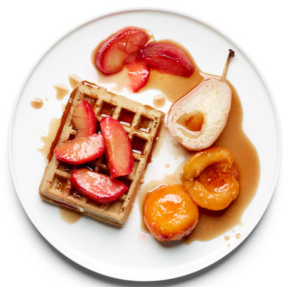 <p>Poached Fruit over Waffles</p>
