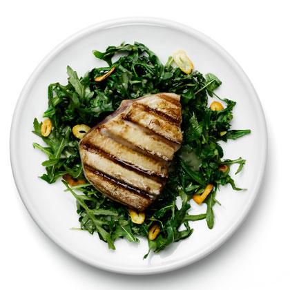 <p>Grilled Tuna on Braised Arugula</p>