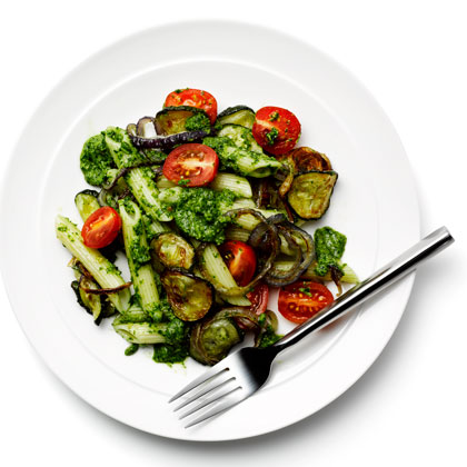 <p>Pasta Primavera With Arugula Pesto</p>