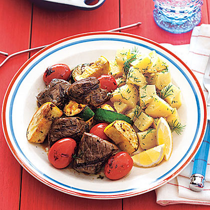 Sirloin-Vegetable Kebabs with Balsamic GlazeRecipe