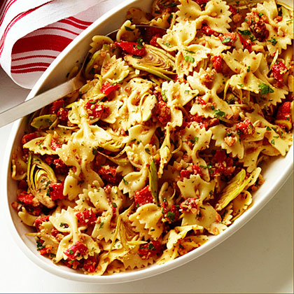 Farfalle with Artichokes, Peppers, and Almonds Recipe