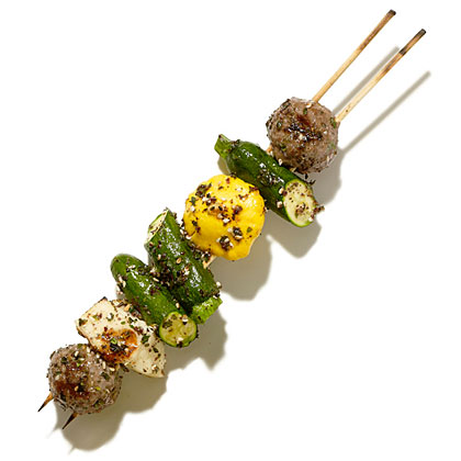 Grilled Meatball, Halloumi, and Baby Squash Skewers