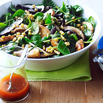 Grilled Chicken, Corn, and Spinach Salad with Smoky Paprika Dressing Recipe