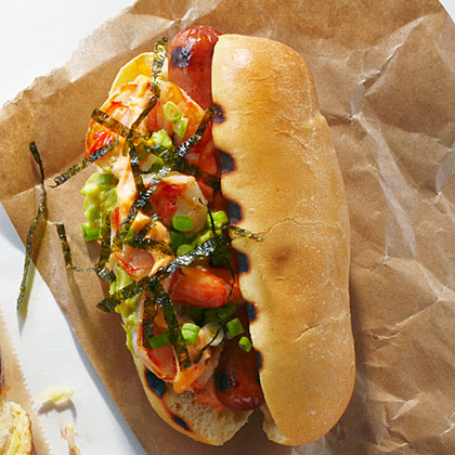 The Surfer Hot Dog RecipeA day of catching waves requires plenty of protein for sustenance, and with both meat and shrimp, this dog delivers. Slivered nori adds a little more ocean flavor.