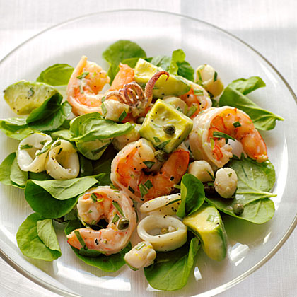 Seafood Salad with Creamy Tarragon Dressing RecipeServe this seafood mix on a bed of watercress or butter lettuce, or as a sandwich in toasted brioche buns or on crusty bread.
