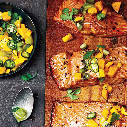 Cedar Plank-Grilled Salmon with Mango Kiwi Salsa