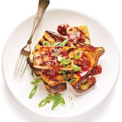 Grilled Eggplant and Tofu Steaks with Sticky Hoisin Glaze