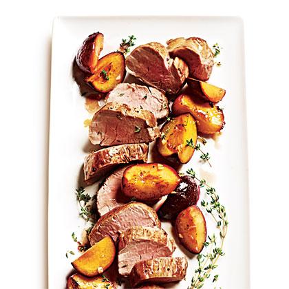 Roast Pork Tenderloin with Thyme-Scented Plums