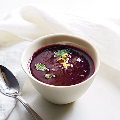 Royal Blueberry  Gazpacho with Lemon and Mint