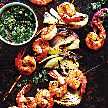Shrimp and Fennel Kebabs with Italian Salsa Verde Recipe