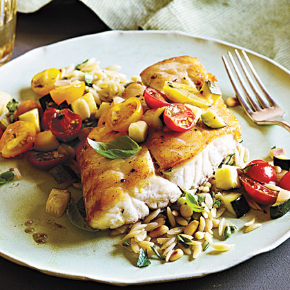 <p>Snapper with Zucchini and Tomato</p>