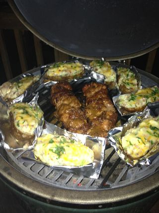 "Tales from the Big Green Egg: Asian Pork Loin, Twice ""Egged"" Potatoes, Peach Cobbler!"