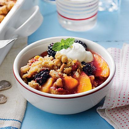 Blackberry-Peach Cobbler with Praline-Pecan Streusel