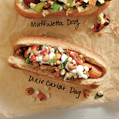 Dixie Caviar Dogs RecipeBuild a better hot dog with this dressed up dog fetauring reduced fat beef hot dogs topped with black-eyed peas, fresh corn kernels, bell pepper and pickled jalapeño pepper slices.