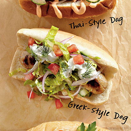 Greek-Style Dogs RecipeEnhance the Greek flavor of these dogs by using sun-dried tomato chicken sausage in place of traditional hot dogs. Top with a simple cucumber sauce, romaine lettuce, tomato, cucumber, red onion, and Greek dressing.