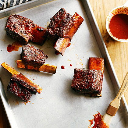 Achiote Short Ribs with Ancho Barbecue Sauce and Avocado Relish Recipe