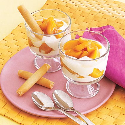 Brandied Peach and Yogurt Parfaits