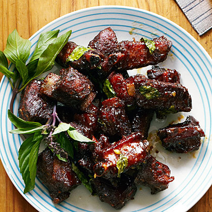 Chinese Glazed Riblets with Garlic and Thai BasilRecipe