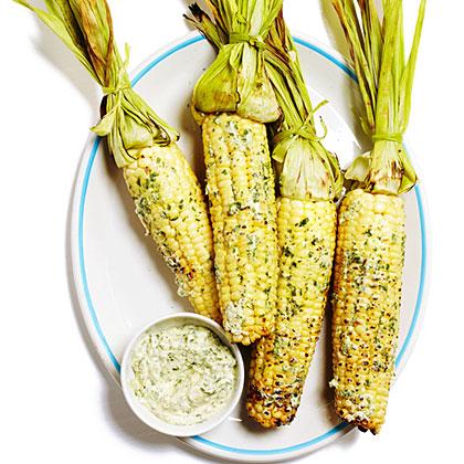 Grilled Corn on the Cob with Cilantro Queso Fresco ButterRecipe