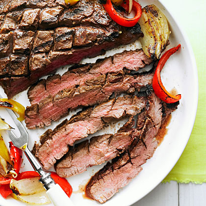 Grilled Flank Steak, Onion, and Peppers Recipe