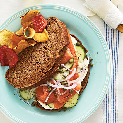 Smoked Salmon Sandwich on Pumpernickel
