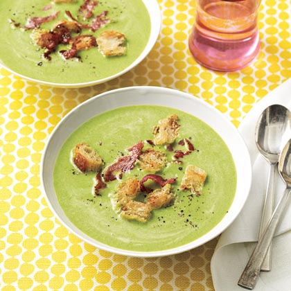 Spring Pea Soup with Frizzled Ham Recipe