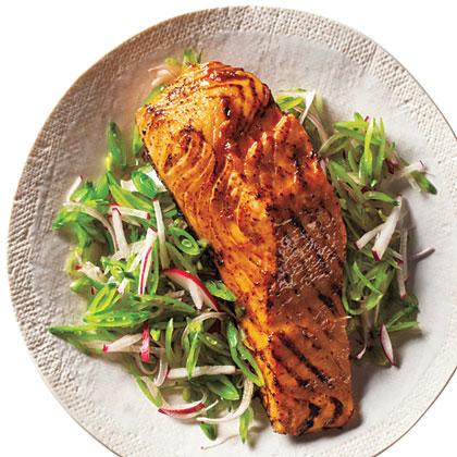 Barbecue Salmon and Snap Pea Slaw Recipe