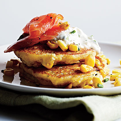 Corn Pancakes with Smoked Salmon and Lemon-Chive Cream