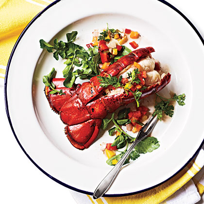 Grilled Lobster Tail with Confetti RelishRecipe