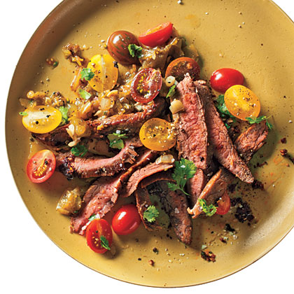 Grilled Skirt Steak and Roasted Tomatillo Sauce