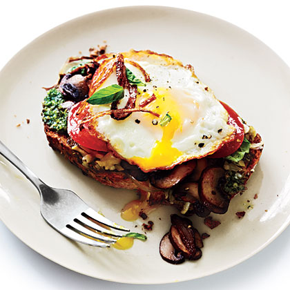 Open-Faced Sandwiches with Mushrooms and Fried Eggs Recipe