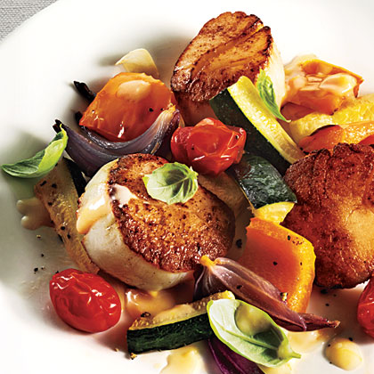 Seared Scallops with Summer Vegetables and Beurre Blanc Recipe - 1 ...