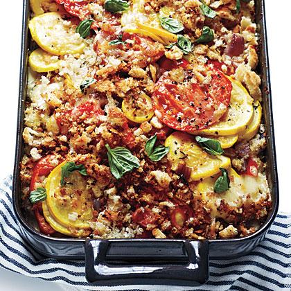 Tomato, Squash, and Red Pepper Gratin