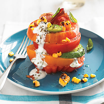 Tomato Stack Salad with Corn and Avocado Recipe | MyRecipes