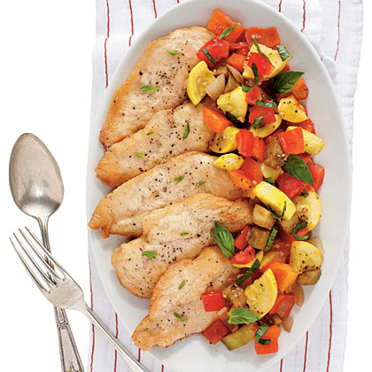 Chicken with Ratatouille RecipeThis is the perfect one-dish dinner when the garden is in full swing. Feel free to substitute whatever is overflowing in your garden or at the market for the vegetables in the ratatouille.