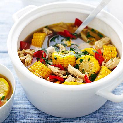 Peruvian-Style Corn, Pepper, and Chicken Soup Recipe