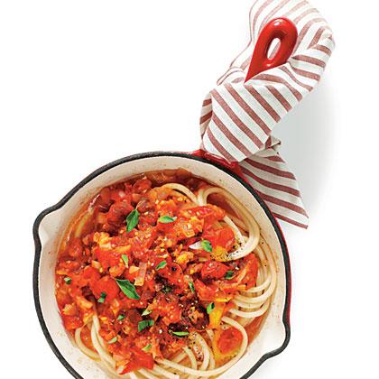 Garden Tomato Sauce over Pasta