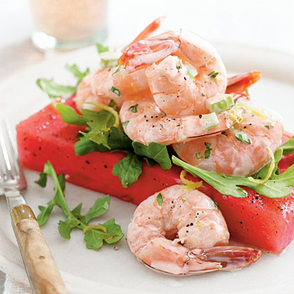 Shrimp Salad over Zesty Watermelon