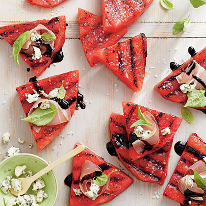 Grilled Watermelon with Blue Cheese and Prosciutto